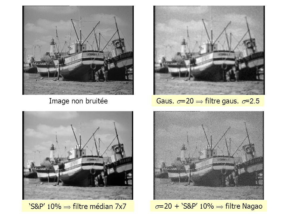 Bruit gaussien =20 Image non bruitée Gaus. =20 filtre gaus. =2.5 S&P 0% filtre médian 7x7 =20 + S&P 0% filtre Nagao