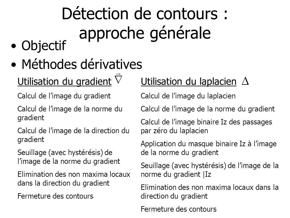 Détection de contours : approche générale Objectif Méthodes dérivatives Utilisation du gradient Calcul de limage du gradient Calcul de limage de la no