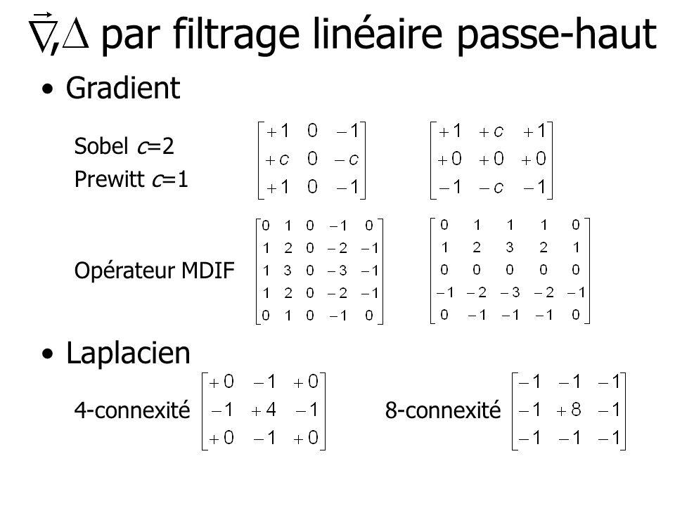 , par filtrage linéaire passe-haut Gradient Sobel c=2 Prewitt c=1 Opérateur MDIF Laplacien 4-connexité8-connexité