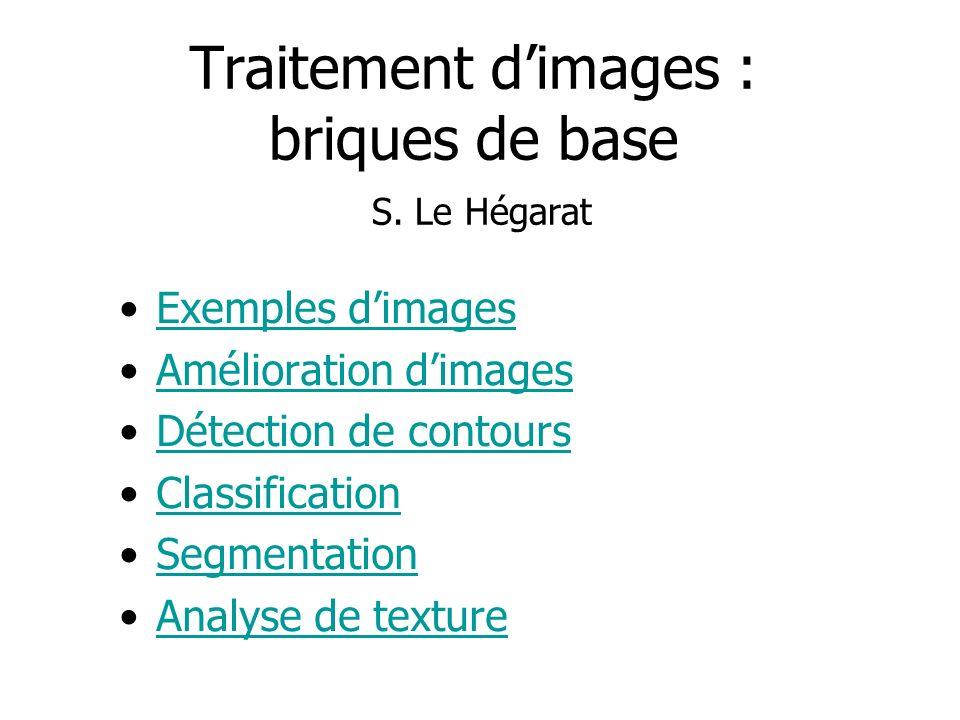 Traitement dimages : briques de base S. Le Hégarat Exemples dimages Amélioration dimages Détection de contours Classification Segmentation Analyse de