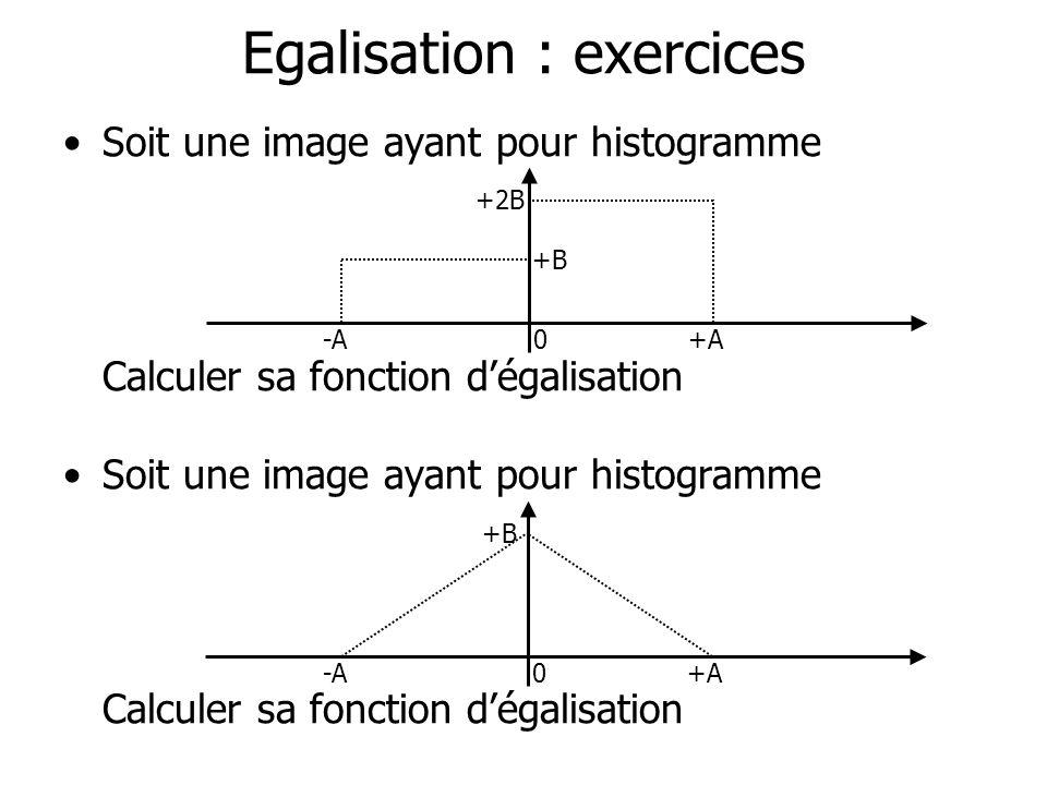 Egalisation : exercices Soit une image ayant pour histogramme Calculer sa fonction dégalisation Soit une image ayant pour histogramme Calculer sa fonc
