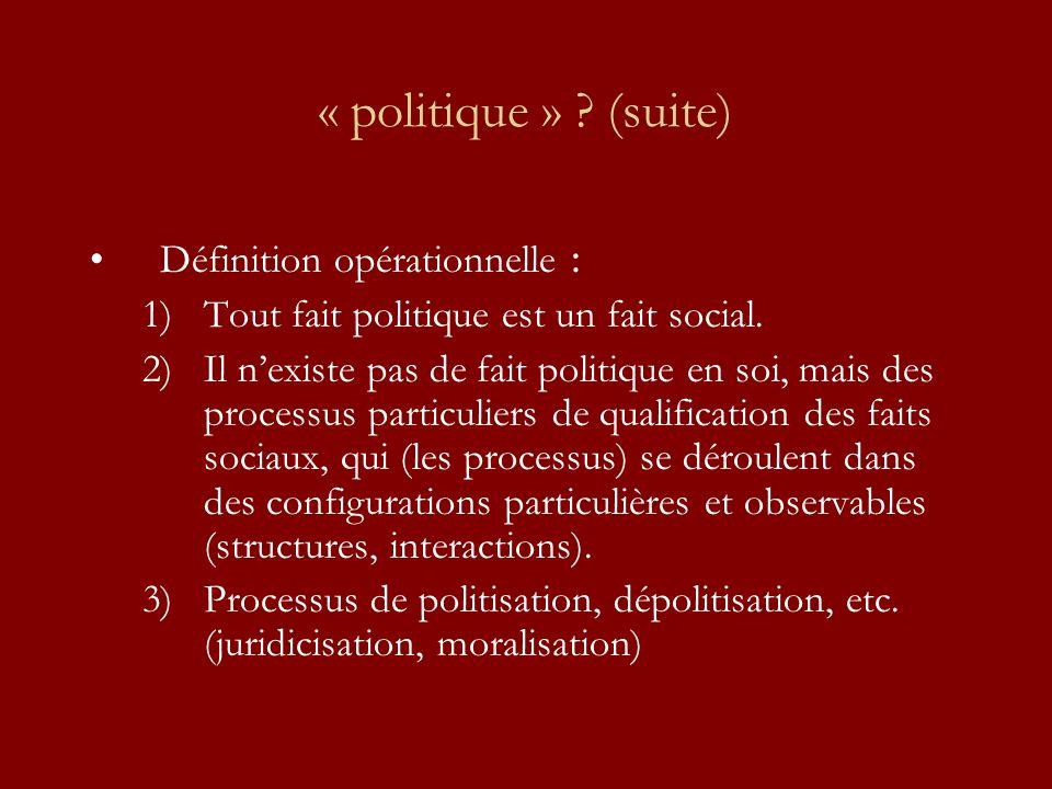 « politique » ? (suite) Définition opérationnelle : 1)Tout fait politique est un fait social. 2)Il nexiste pas de fait politique en soi, mais des proc