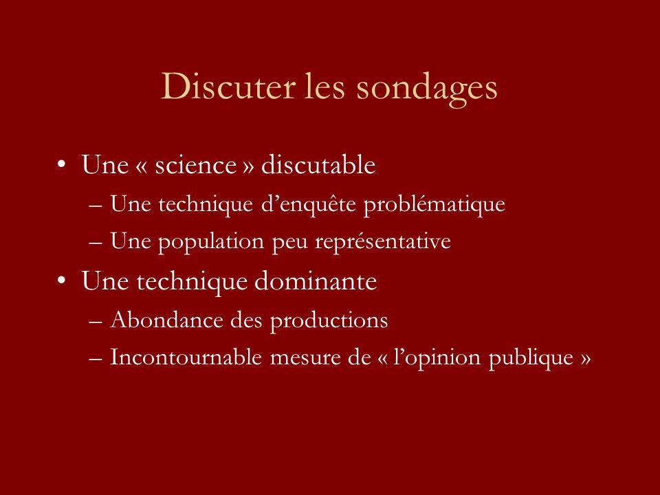 Discuter les sondages Une « science » discutable –Une technique denquête problématique –Une population peu représentative Une technique dominante –Abondance des productions –Incontournable mesure de « lopinion publique »