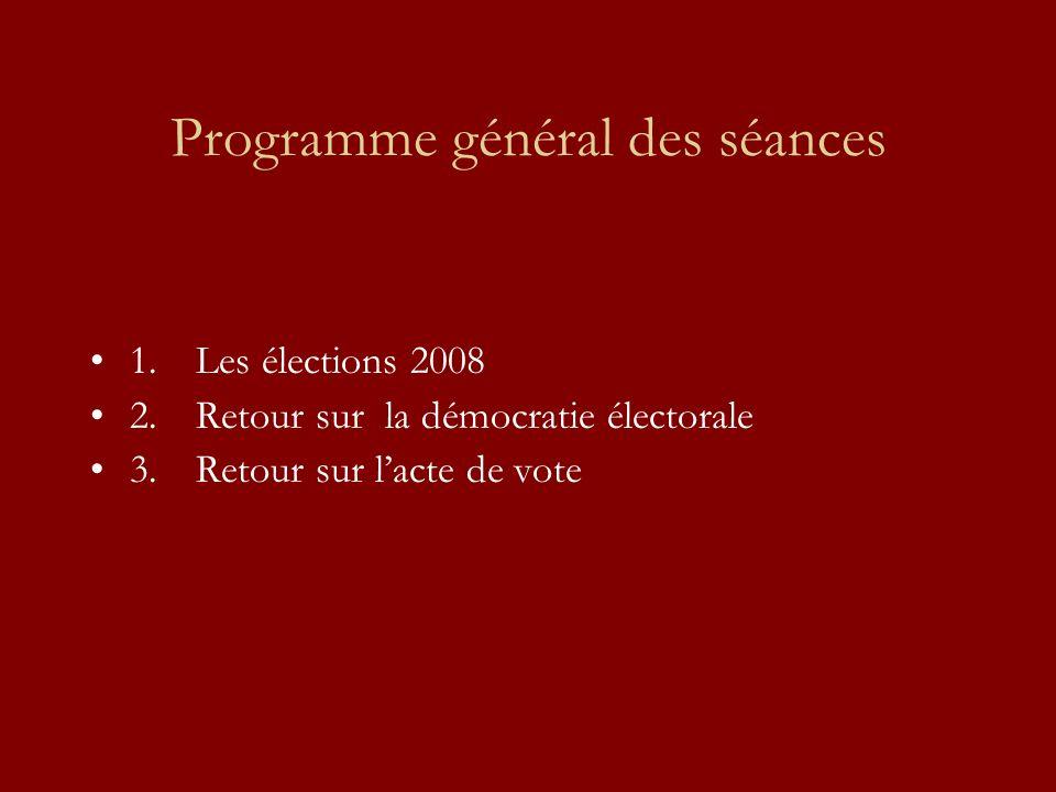 Programme général des séances 1.Les élections 2008 2.Retour sur la démocratie électorale 3.Retour sur lacte de vote