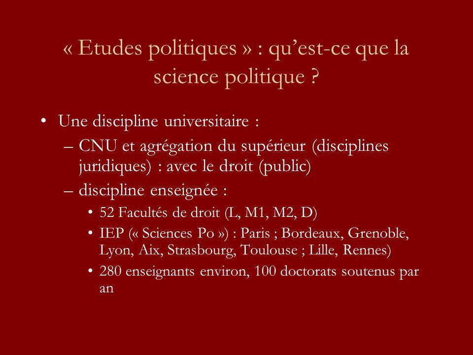 « Etudes politiques » : quest-ce que la science politique ? Une discipline universitaire : –CNU et agrégation du supérieur (disciplines juridiques) :