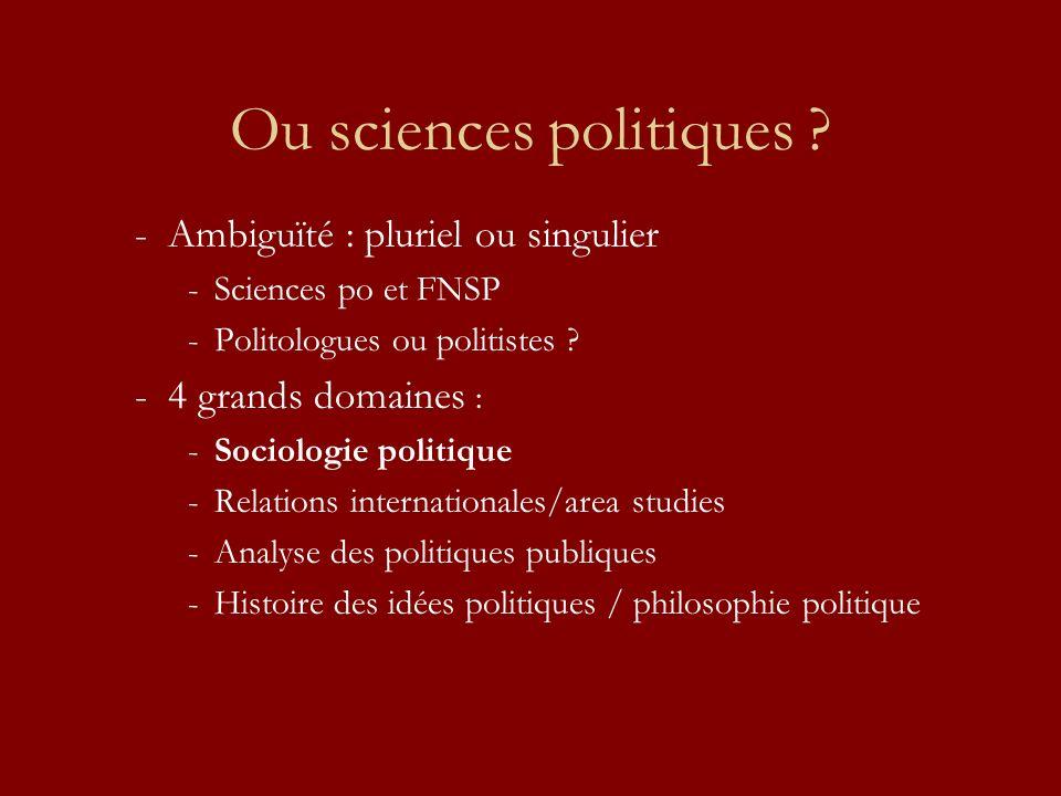 Ou sciences politiques ? -Ambiguïté : pluriel ou singulier -Sciences po et FNSP -Politologues ou politistes ? -4 grands domaines : -Sociologie politiq