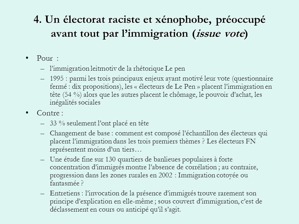 4. Un électorat raciste et xénophobe, préoccupé avant tout par limmigration (issue vote) Pour : –limmigration leitmotiv de la rhétorique Le pen –1995