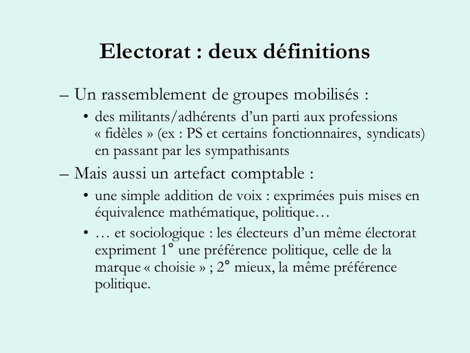 Electorat : deux définitions –Un rassemblement de groupes mobilisés : des militants/adhérents dun parti aux professions « fidèles » (ex : PS et certai