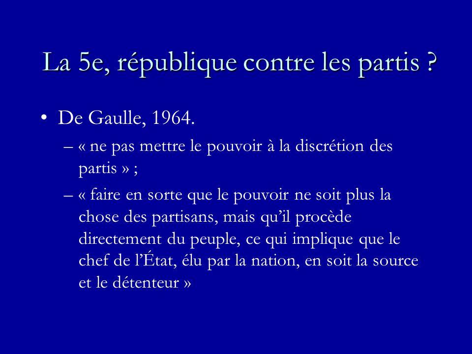 La 5e, république contre les partis ? De Gaulle, 1964. –« ne pas mettre le pouvoir à la discrétion des partis » ; –« faire en sorte que le pouvoir ne