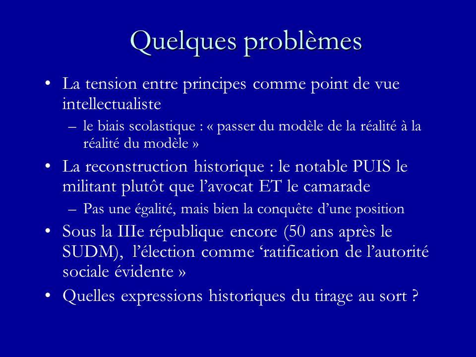 Quelques problèmes La tension entre principes comme point de vue intellectualiste –le biais scolastique : « passer du modèle de la réalité à la réalit