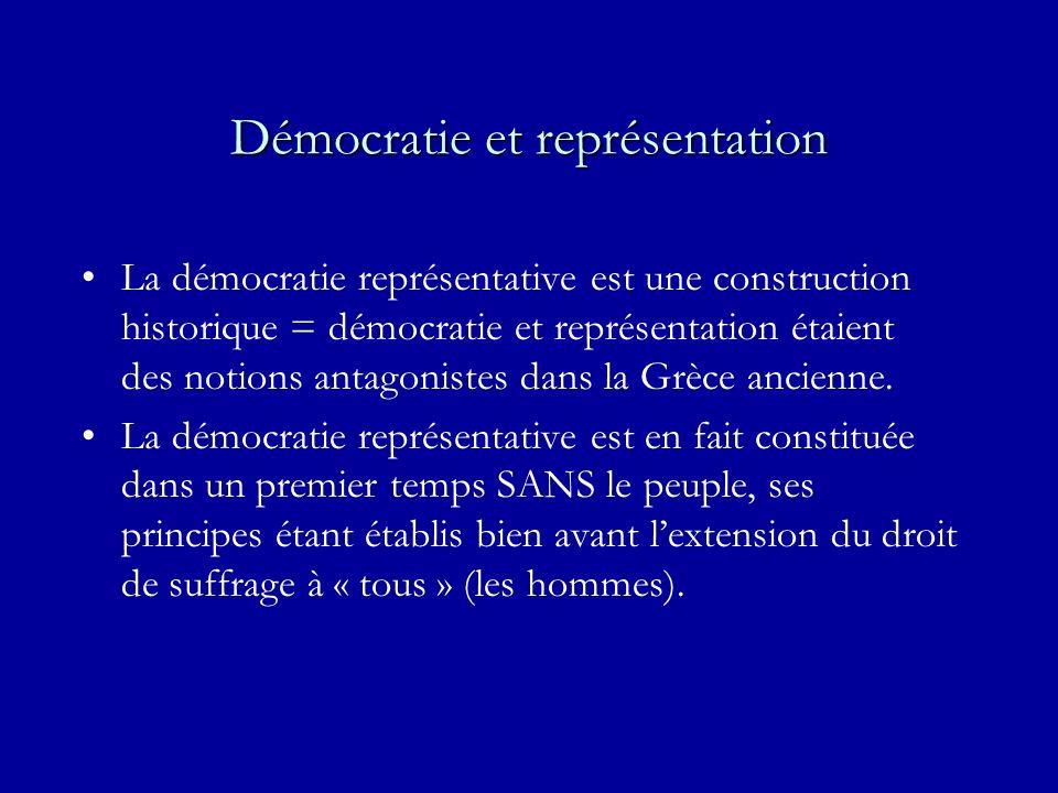 Démocratie et représentation La démocratie représentative est une construction historique = démocratie et représentation étaient des notions antagonistes dans la Grèce ancienne.