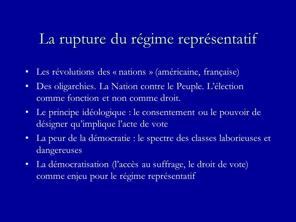 La rupture du régime représentatif Les révolutions des « nations » (américaine, française) Des oligarchies. La Nation contre le Peuple. Lélection comm