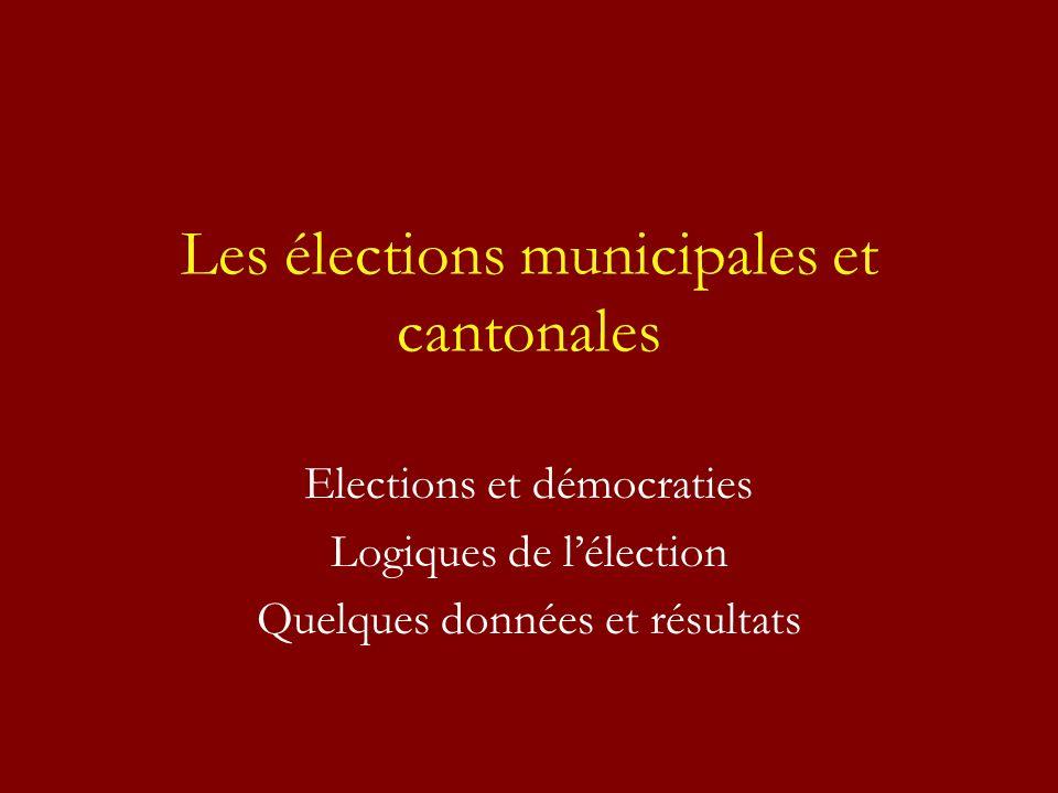 Les élections municipales et cantonales Elections et démocraties Logiques de lélection Quelques données et résultats