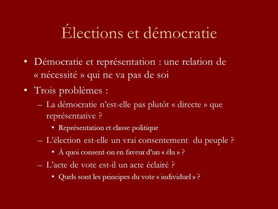 Élections et démocratie Démocratie et représentation : une relation de « nécessité » qui ne va pas de soi Trois problèmes : –La démocratie nest-elle pas plutôt « directe » que représentative .