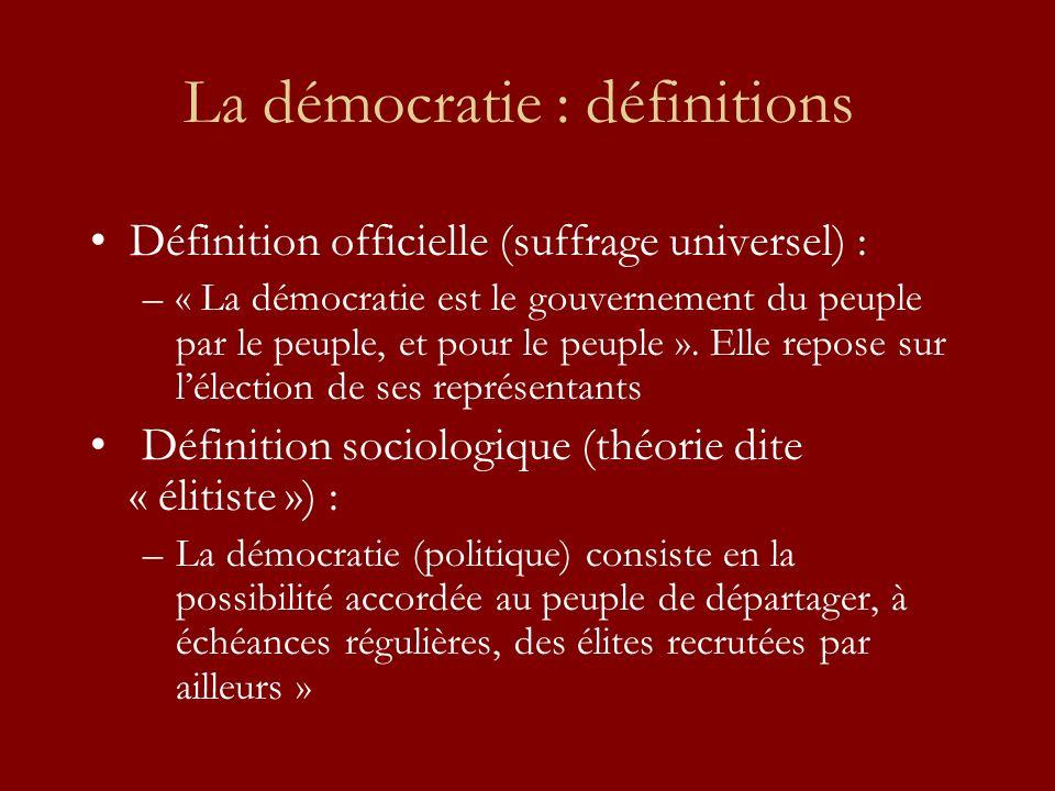 La démocratie : définitions Définition officielle (suffrage universel) : –« La démocratie est le gouvernement du peuple par le peuple, et pour le peuple ».