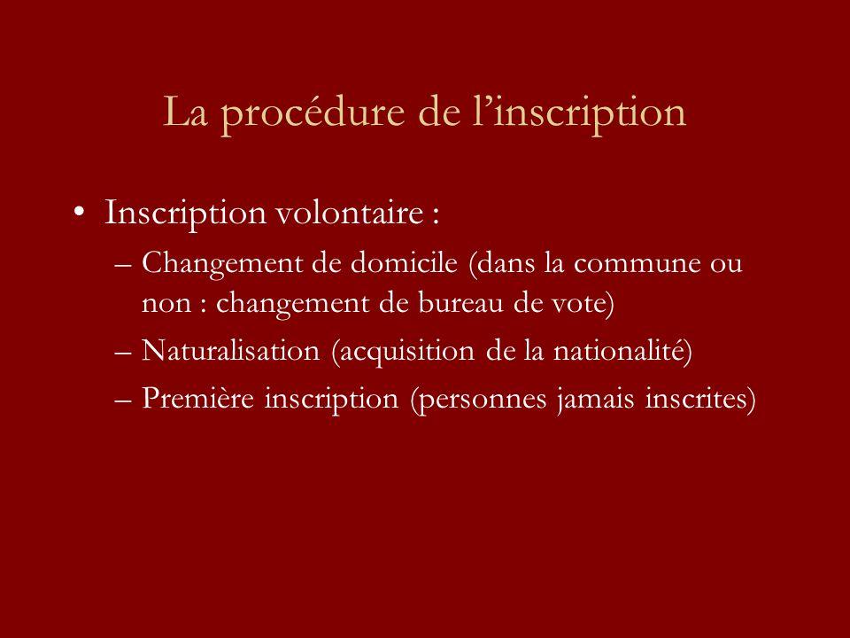 La procédure de linscription Inscription volontaire : –Changement de domicile (dans la commune ou non : changement de bureau de vote) –Naturalisation