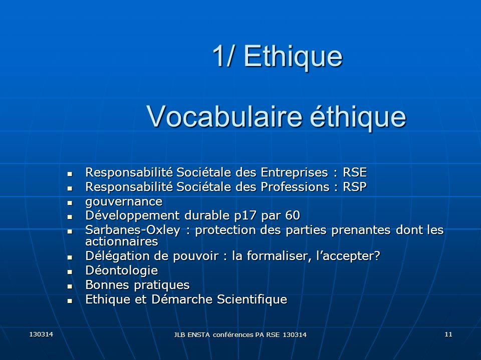 130314 JLB ENSTA conférences PA RSE 130314 11 Vocabulaire éthique Responsabilité Sociétale des Entreprises : RSE Responsabilité Sociétale des Entrepri