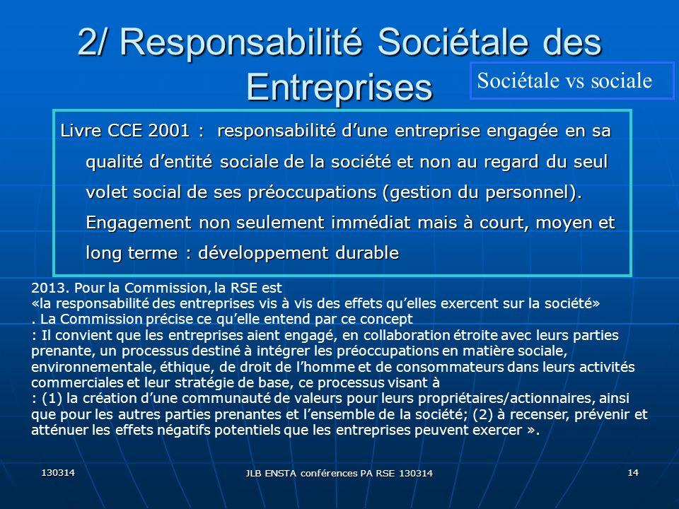 130314 JLB ENSTA conférences PA RSE 130314 14 2/ Responsabilité Sociétale des Entreprises Sociétale vs sociale Livre CCE 2001 : responsabilité dune en