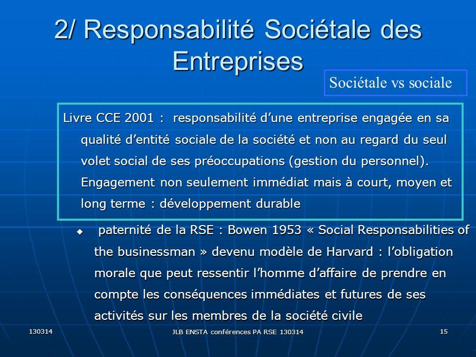 130314 JLB ENSTA conférences PA RSE 130314 15 u paternité de la RSE : Bowen 1953 « Social Responsabilities of the businessman » devenu modèle de Harva
