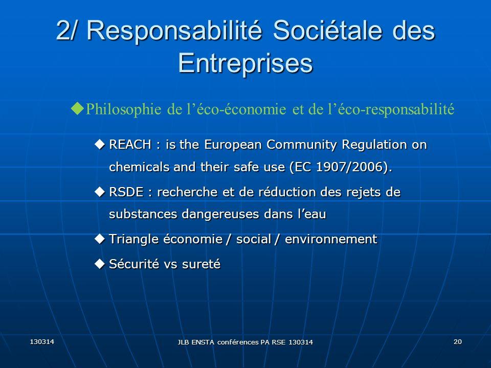 130314 JLB ENSTA conférences PA RSE 130314 20 2/ Responsabilité Sociétale des Entreprises uREACH : is the European Community Regulation on chemicals a