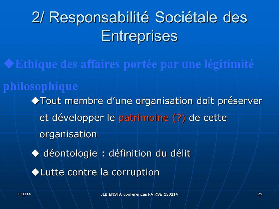 130314 JLB ENSTA conférences PA RSE 130314 22 2/ Responsabilité Sociétale des Entreprises uTout membre dune organisation doit préserver et développer