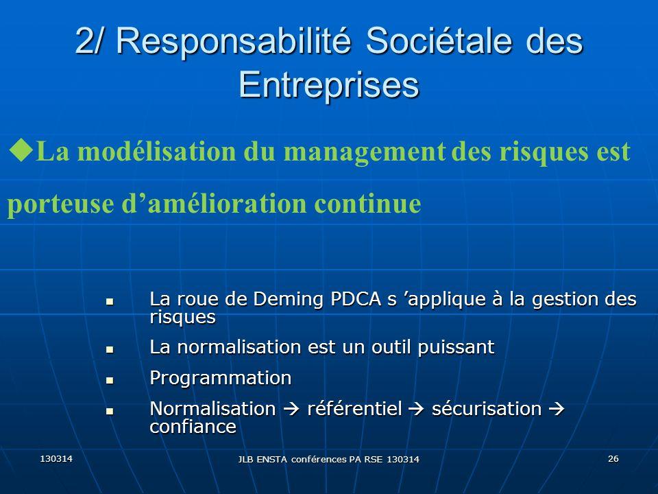 130314 JLB ENSTA conférences PA RSE 130314 26 2/ Responsabilité Sociétale des Entreprises La roue de Deming PDCA s applique à la gestion des risques L