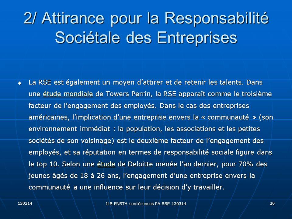 130314 JLB ENSTA conférences PA RSE 130314 30 u La RSE est également un moyen dattirer et de retenir les talents. Dans une étude mondiale de Towers Pe