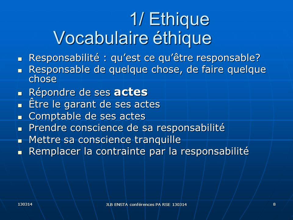 130314 JLB ENSTA conférences PA RSE 130314 8 Vocabulaire éthique Responsabilité : quest ce quêtre responsable? Responsabilité : quest ce quêtre respon