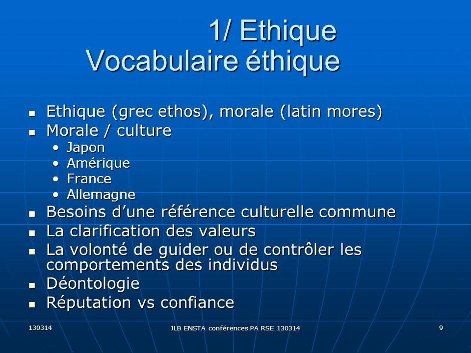 130314 JLB ENSTA conférences PA RSE 130314 9 Vocabulaire éthique Ethique (grec ethos), morale (latin mores) Ethique (grec ethos), morale (latin mores)