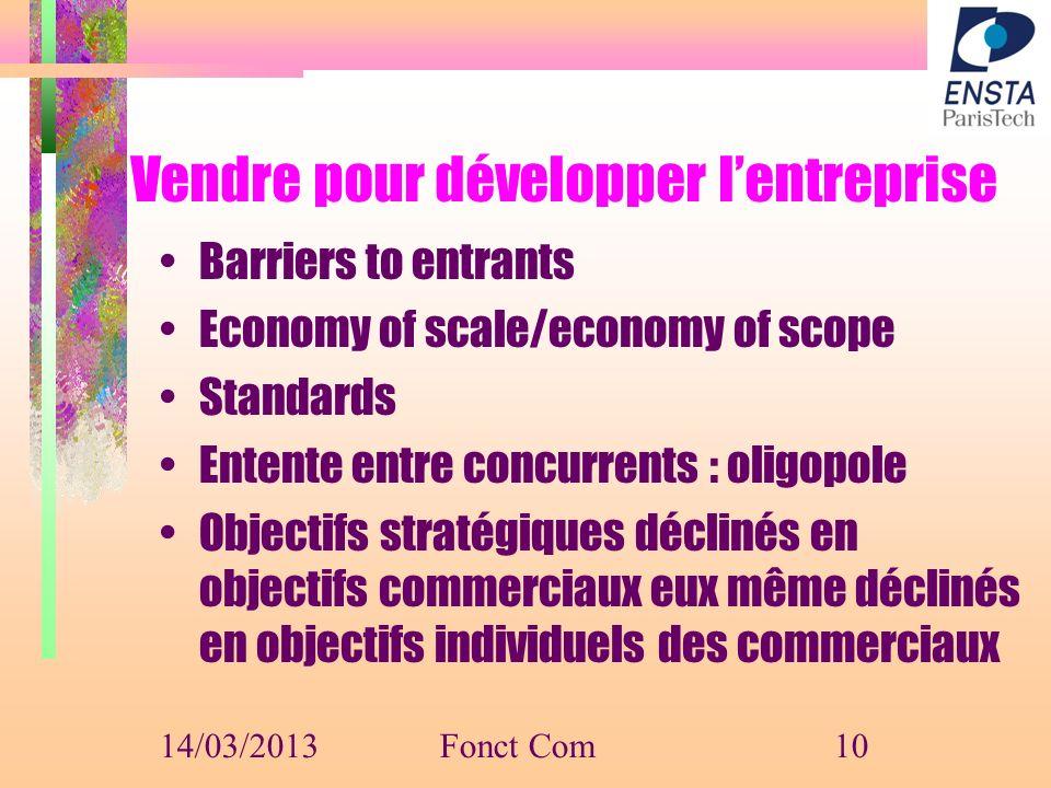 Vendre pour développer lentreprise Barriers to entrants Economy of scale/economy of scope Standards Entente entre concurrents : oligopole Objectifs st