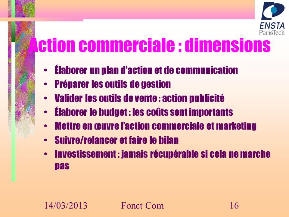 Action commerciale : dimensions Élaborer un plan d'action et de communication Préparer les outils de gestion Valider les outils de vente : action publ