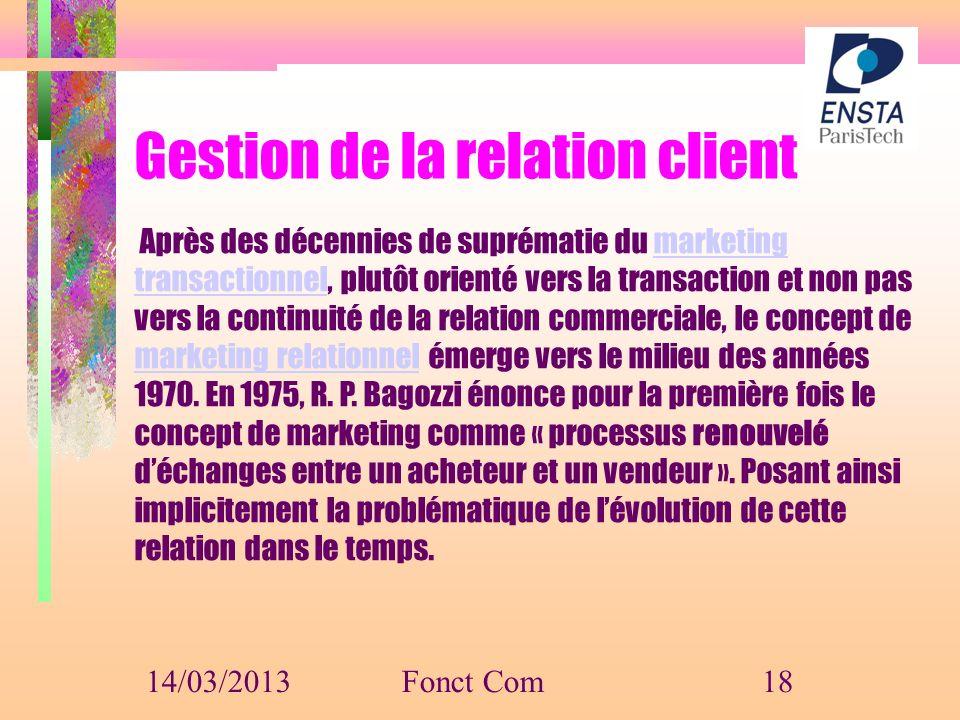 Gestion de la relation client Après des décennies de suprématie du marketing transactionnel, plutôt orienté vers la transaction et non pas vers la con