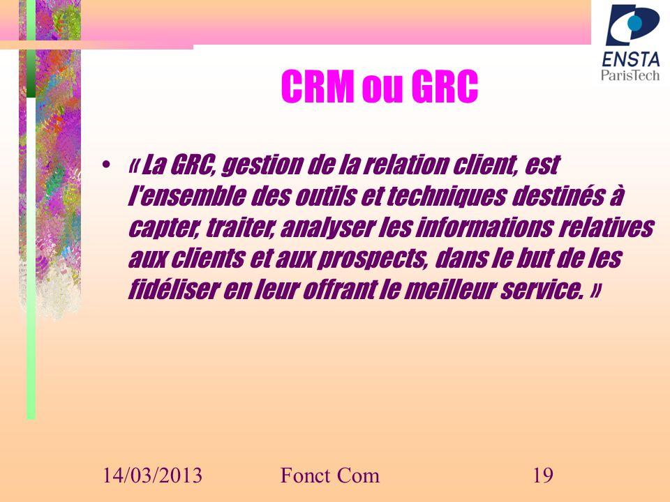 CRM ou GRC « La GRC, gestion de la relation client, est l'ensemble des outils et techniques destinés à capter, traiter, analyser les informations rela