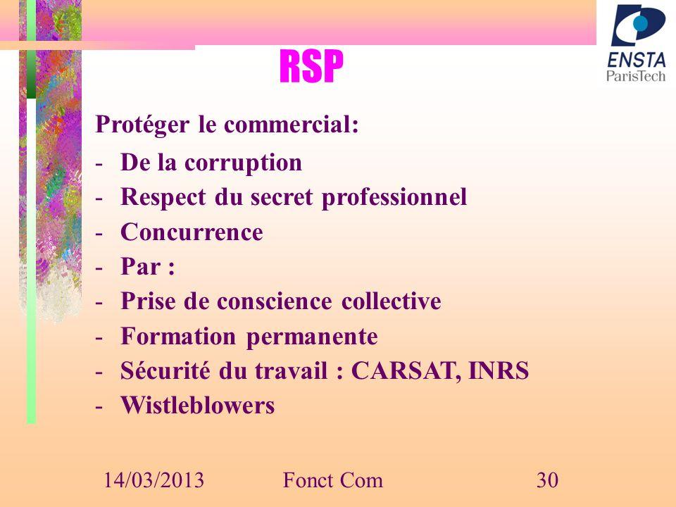 RSP Protéger le commercial: -De la corruption -Respect du secret professionnel -Concurrence -Par : -Prise de conscience collective -Formation permanen