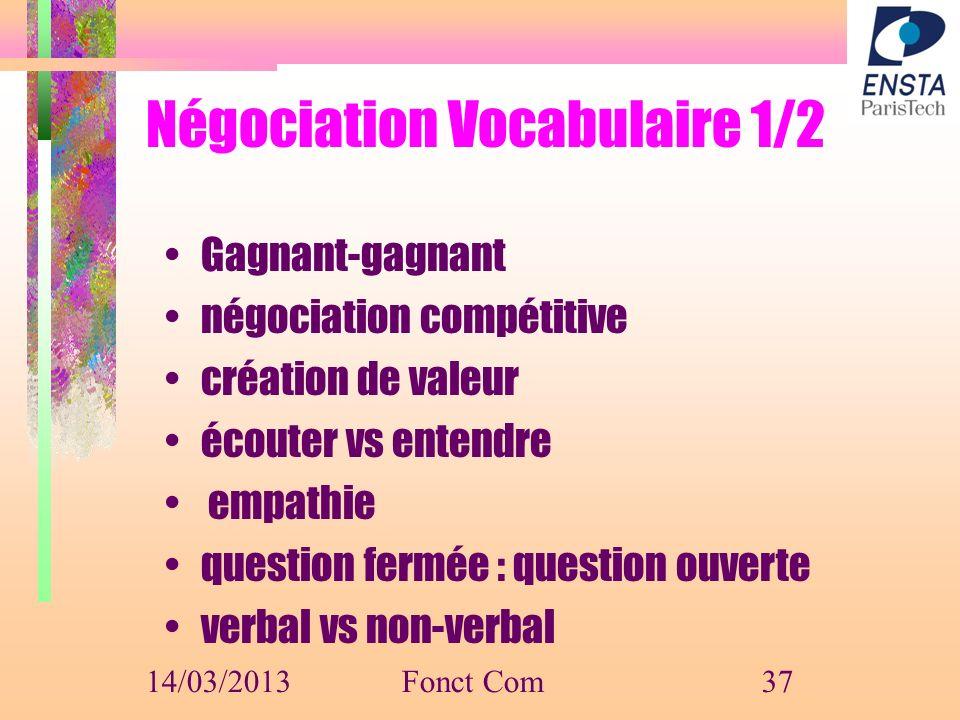 Négociation Vocabulaire 1/2 Gagnant-gagnant négociation compétitive création de valeur écouter vs entendre empathie question fermée : question ouverte