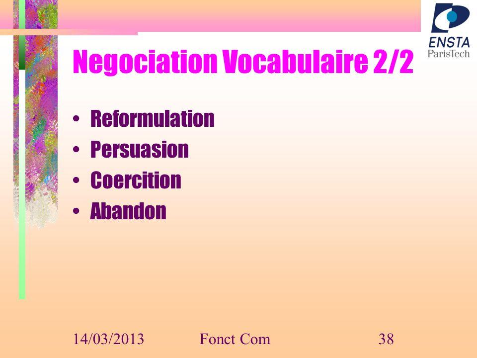 Negociation Vocabulaire 2/2 Reformulation Persuasion Coercition Abandon 14/03/2013Fonct Com38