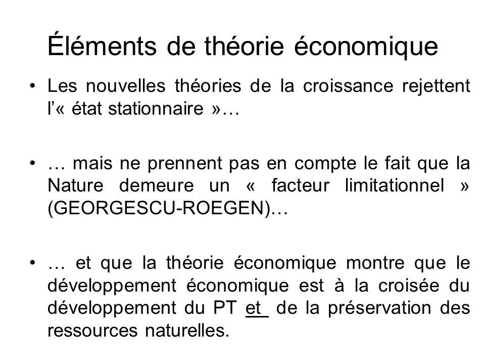 Éléments de théorie économique Les nouvelles théories de la croissance rejettent l« état stationnaire »… … mais ne prennent pas en compte le fait que