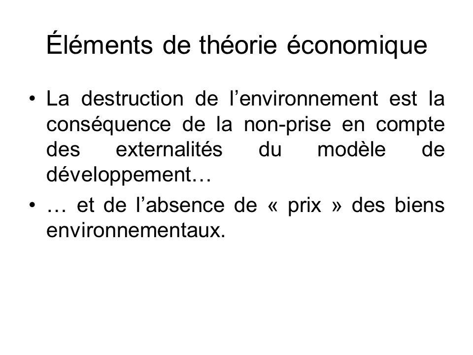 Éléments de théorie économique La destruction de lenvironnement est la conséquence de la non-prise en compte des externalités du modèle de développeme