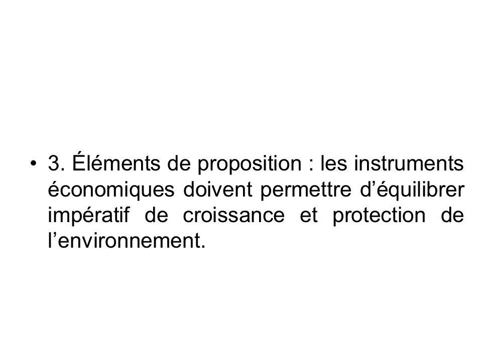 3. Éléments de proposition : les instruments économiques doivent permettre déquilibrer impératif de croissance et protection de lenvironnement.