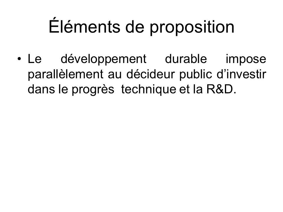 Éléments de proposition Le développement durable impose parallèlement au décideur public dinvestir dans le progrès technique et la R&D.