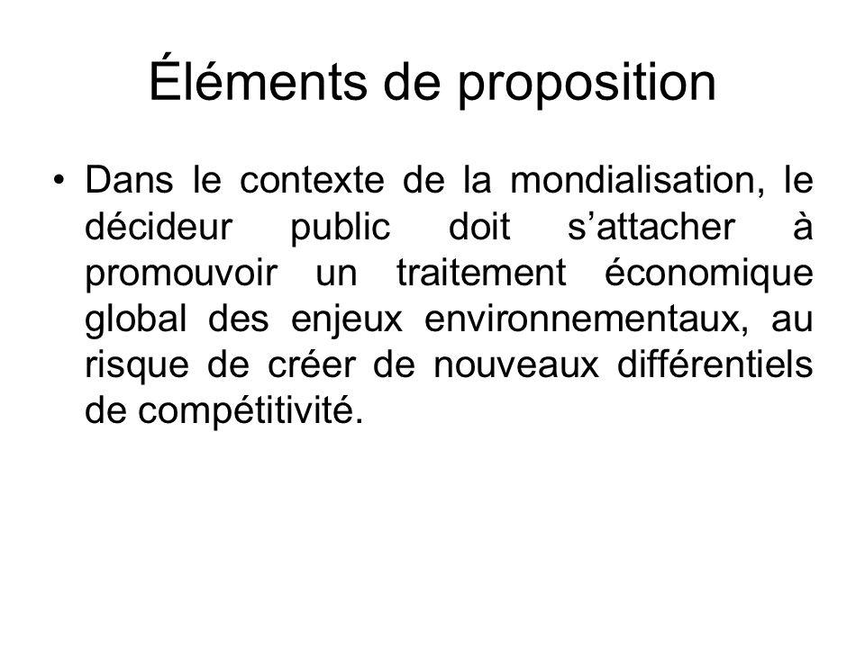 Éléments de proposition Dans le contexte de la mondialisation, le décideur public doit sattacher à promouvoir un traitement économique global des enje