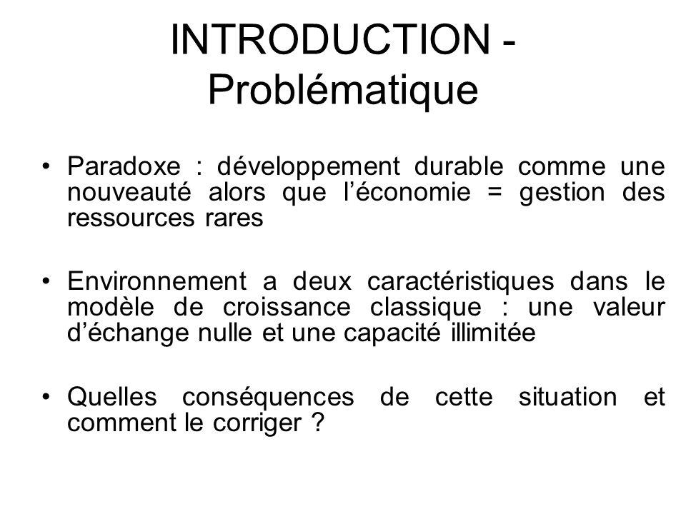 INTRODUCTION - Problématique Paradoxe : développement durable comme une nouveauté alors que léconomie = gestion des ressources rares Environnement a d