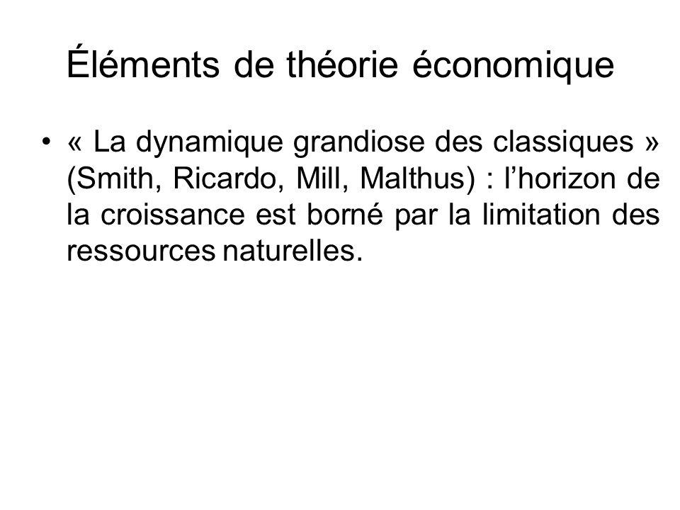Éléments de théorie économique Les nouvelles théories de la croissance rejettent l« état stationnaire »… … mais ne prennent pas en compte le fait que la Nature demeure un « facteur limitationnel » (GEORGESCU-ROEGEN)… … et que la théorie économique montre que le développement économique est à la croisée du développement du PT et de la préservation des ressources naturelles.