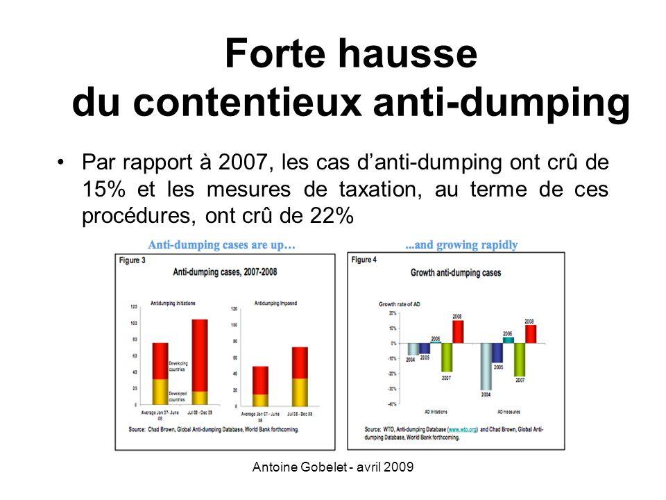 Antoine Gobelet - avril 2009 Forte hausse du contentieux anti-dumping Par rapport à 2007, les cas danti-dumping ont crû de 15% et les mesures de taxat
