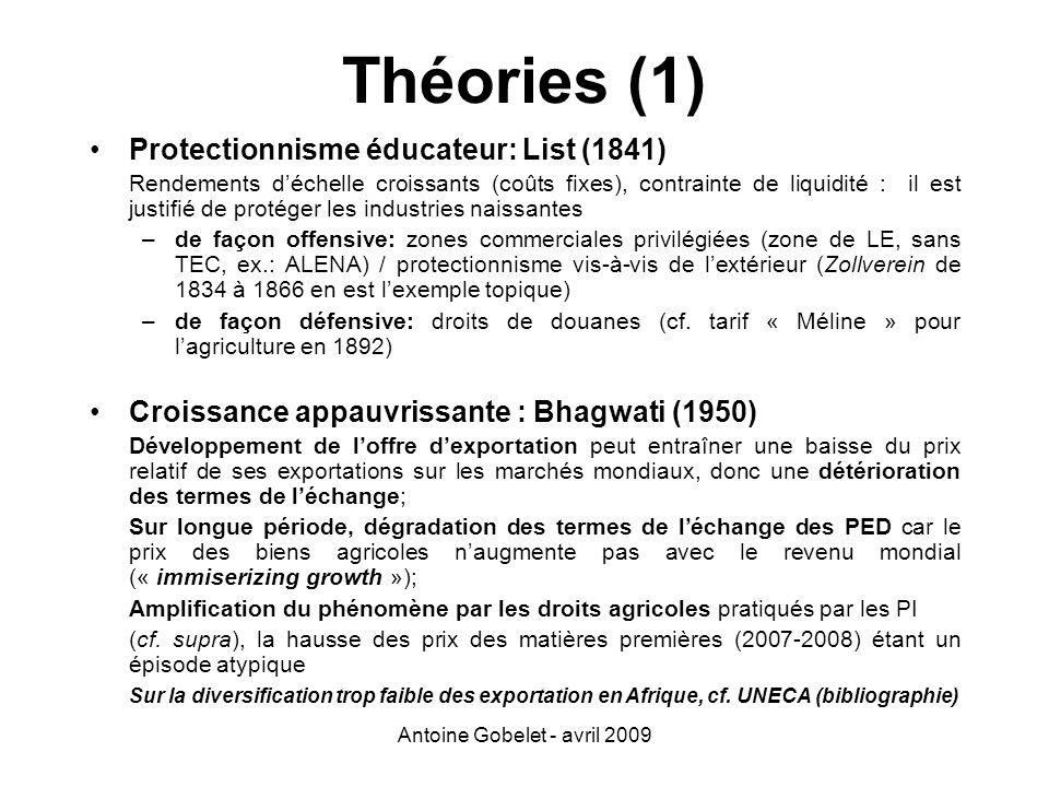 Antoine Gobelet - avril 2009 Protectionnisme éducateur: List (1841) Rendements déchelle croissants (coûts fixes), contrainte de liquidité : il est jus