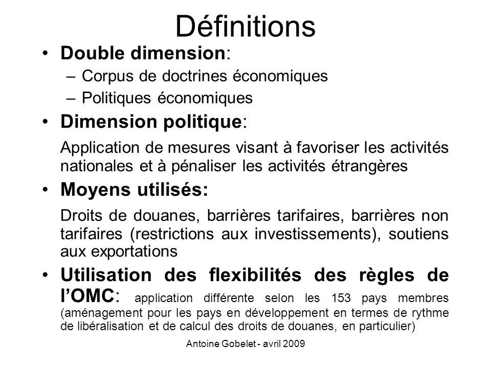 Antoine Gobelet - avril 2009 Définitions Double dimension: –Corpus de doctrines économiques –Politiques économiques Dimension politique: Application d