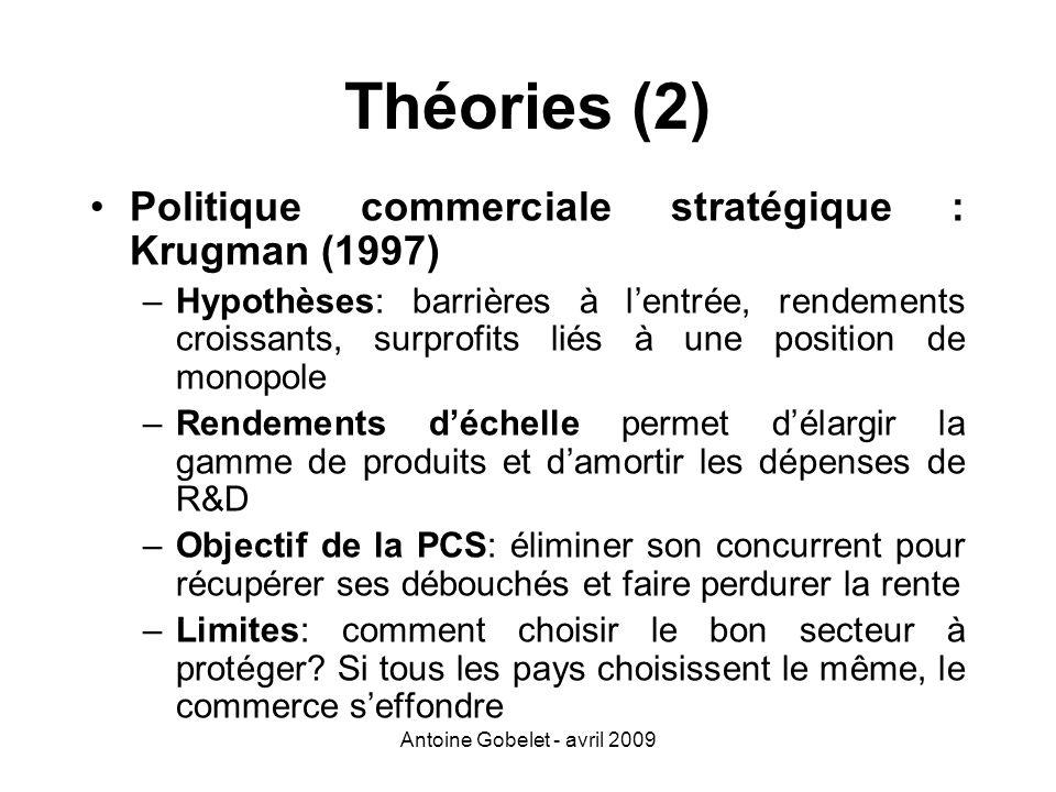 Antoine Gobelet - avril 2009 Théories (2) Politique commerciale stratégique : Krugman (1997) –Hypothèses: barrières à lentrée, rendements croissants,