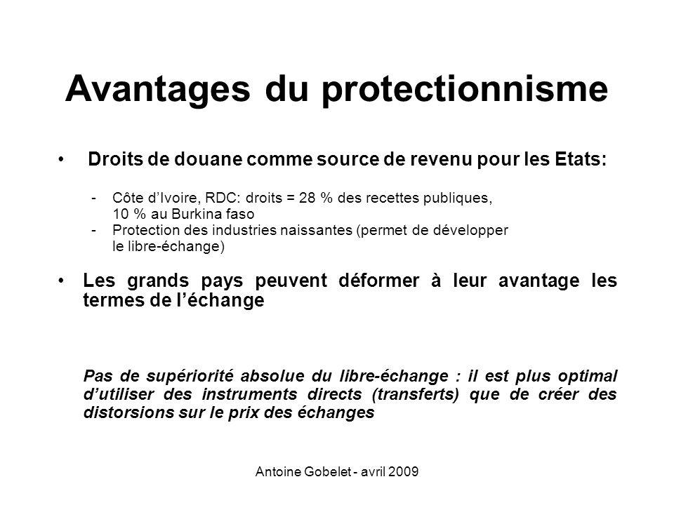 Antoine Gobelet - avril 2009 Avantages du protectionnisme Droits de douane comme source de revenu pour les Etats: -Côte dIvoire, RDC: droits = 28 % de