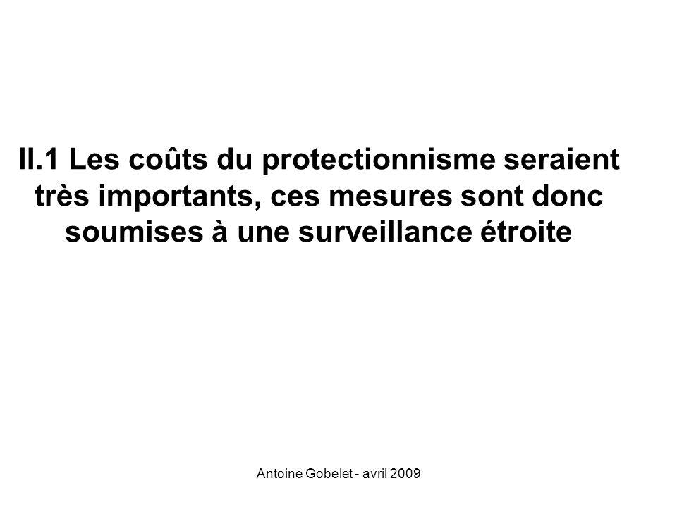 Antoine Gobelet - avril 2009 II.1 Les coûts du protectionnisme seraient très importants, ces mesures sont donc soumises à une surveillance étroite