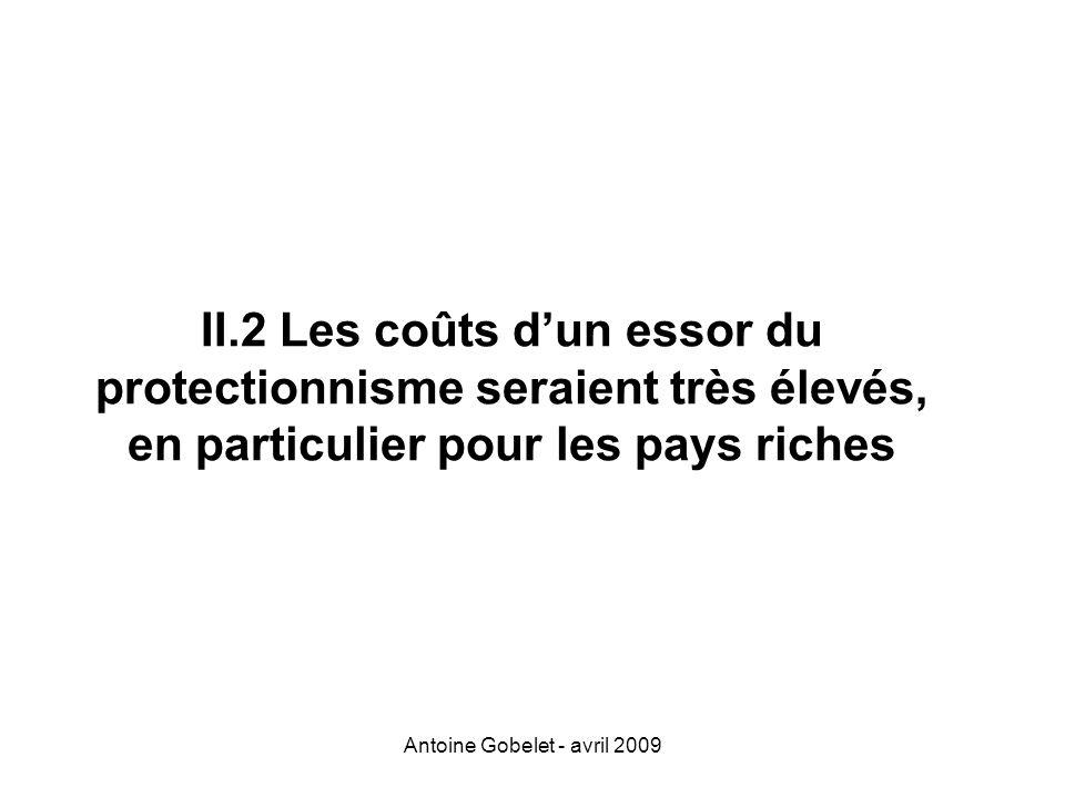 Antoine Gobelet - avril 2009 II.2 Les coûts dun essor du protectionnisme seraient très élevés, en particulier pour les pays riches